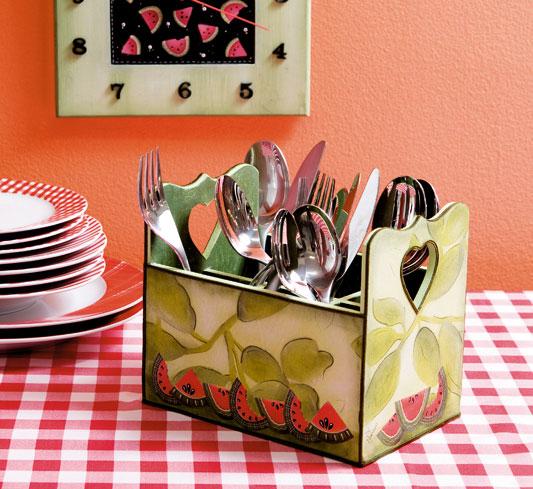 diy kitchen storage ideas cutlery decoupaged container
