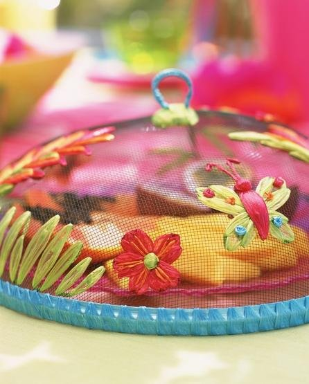 food cover decorations mesh colander flowers butterflies