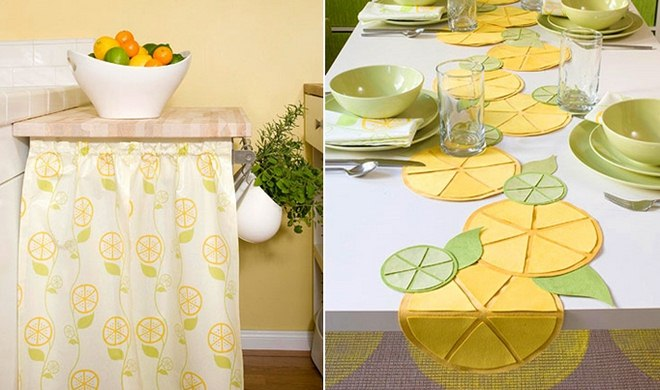 Kitchen Lemon Decor Ideas Patterned Drape Table Runner