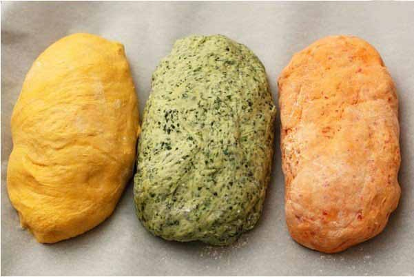 tri-colored bread recipe pumpkin spinach paprika