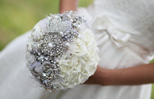 vintage brooch wedding bouquet silver rhinestones white roses