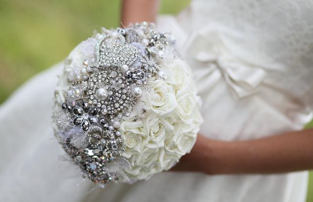vintage brooch wedding bouquet silver rhinestones white roses