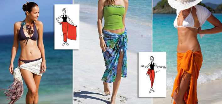 6 different ways to tie a sarong dress and pareo skirt for the beach. Black Bedroom Furniture Sets. Home Design Ideas