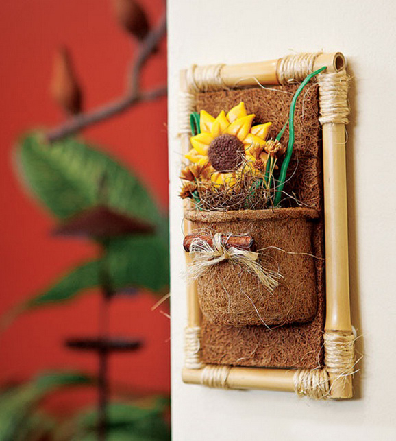 bamboo wall decor ideas sunflower coconut coir