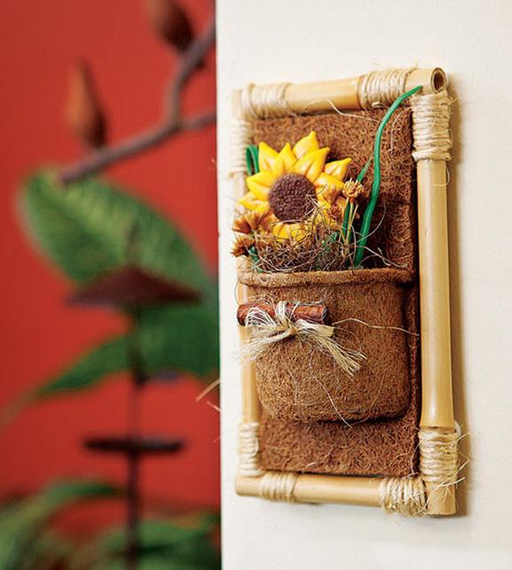 bamboo wall decor ideas sunflower coconut coir