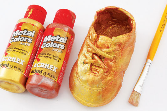 bronzing baby shoes metallic paint idea gold copper