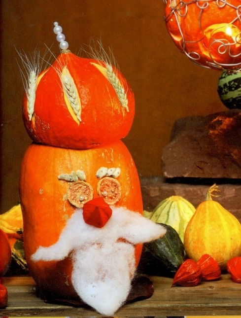 easy pumpkin centerpiece old-man-gourds-wheat-seeds-cotton-beard