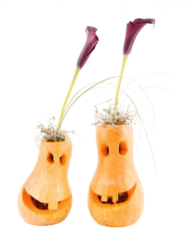 easy pumpkin centerpieces smiling-gourds-purple-calla-lilies