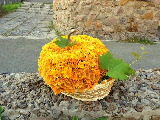 fall-decorating-ideas-orange-mums-basket-looking-like-pumpkin