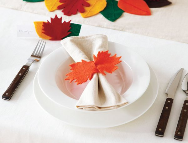 fall table napkin decor ideas orange felt napkin ring