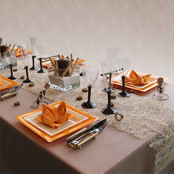 fall-table-napkin-decor-ideas-orange-napkin-folded-lotus-flower
