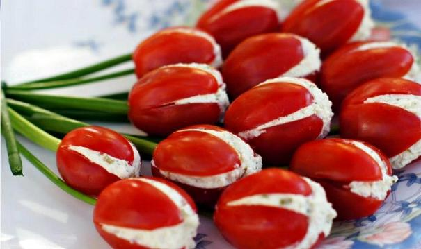 fun appetizers and snacks recipe tulips tomatoes green onion cheese