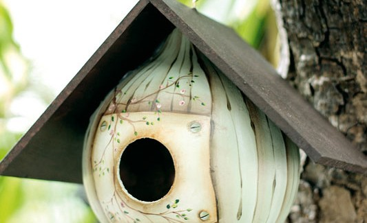 How to make a gourd birdhouse – Beautiful design and paint technique