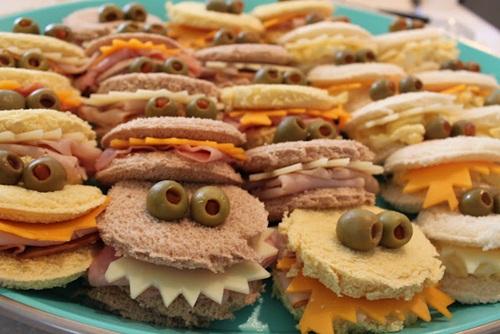 idea kids party fun sanwiches monsters faces