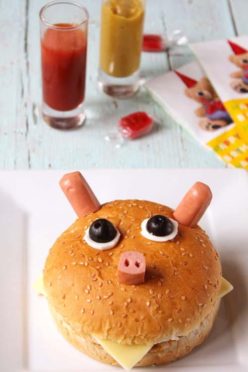 kids food burger pig face decor