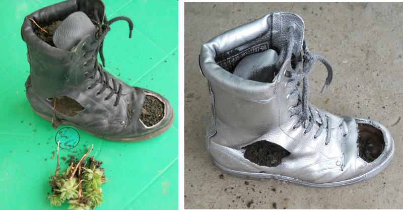 old shoe silver paint planter