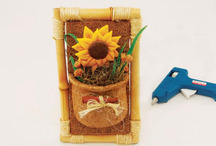 sunflower bamboo frame decoration
