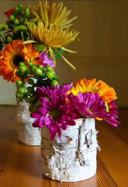 birch bark crafts nice summer flowers tin vase