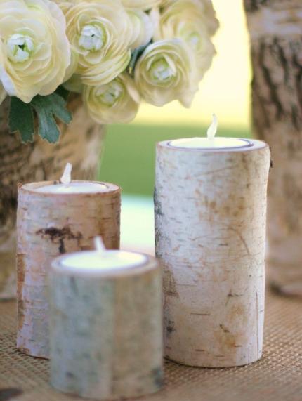Birch tree bark peels rustic candles