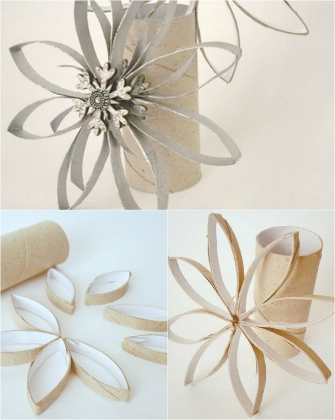 Homemade-Christmas-tree-ornaments-toilet-paper-roll-snowflake