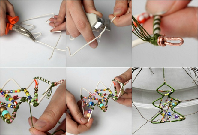 Homemade-Christmas-tree-ornaments-wire-beads-craft