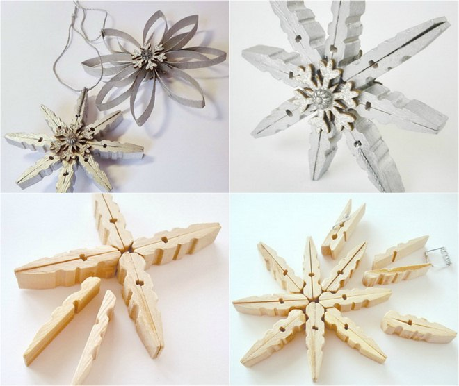 Homemade-Christmas-tree-ornaments-wood-clothespins-snowflakes