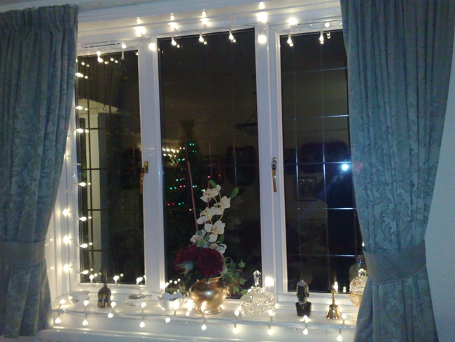 christmas window decor display lights white orchid - Christmas Window Sill Decorations Ideas