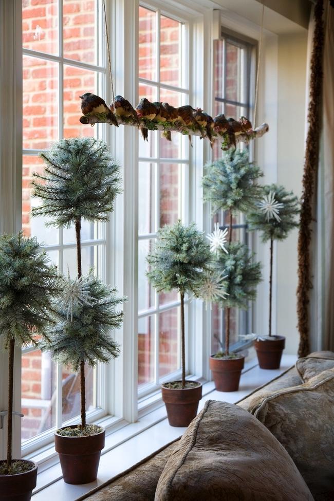 christmas window decoration ideas small-pot-plants-birds-branch