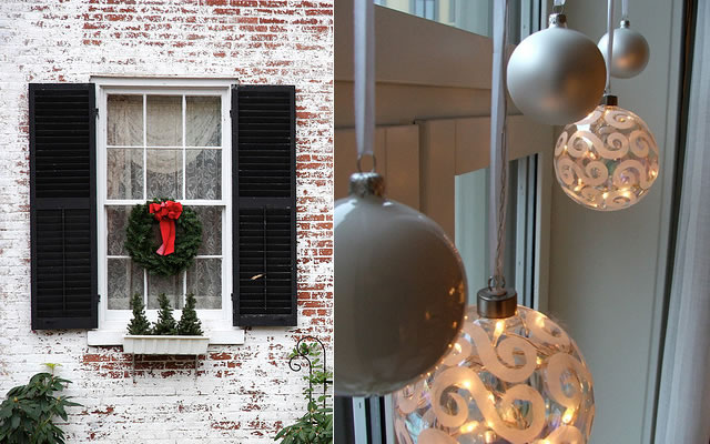christmas window decoration ideas wreath-tree-ornaments