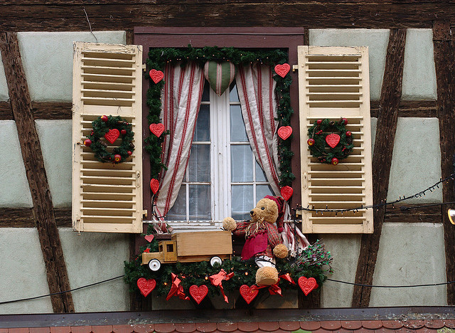 christmas window decoration wooden shutters wreaths - Window Sill Christmas Decorations