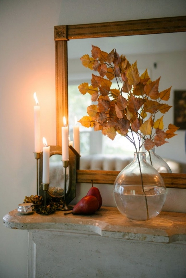 decorating for fall ideas-birch-tree-branch-orange-leaves