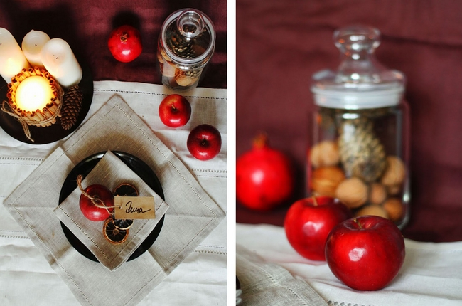 fall decorating ideas table red apples-linen-napkin-nuts