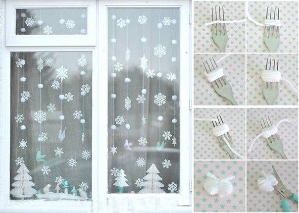 diy christmas window decor garlands-snowflakes-yarn-ribbons