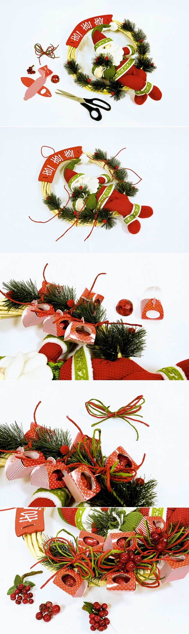 diy-christmas-wreath-santa-doll-red-candy-berries-ribbons