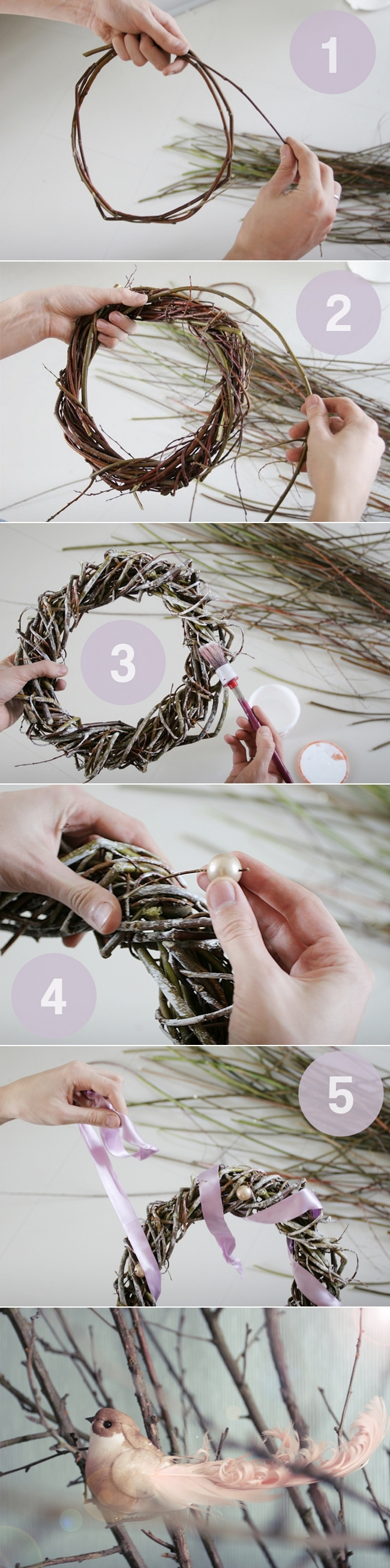 diy-christmas-wreath-vines-soft-pink-ribbon-bird