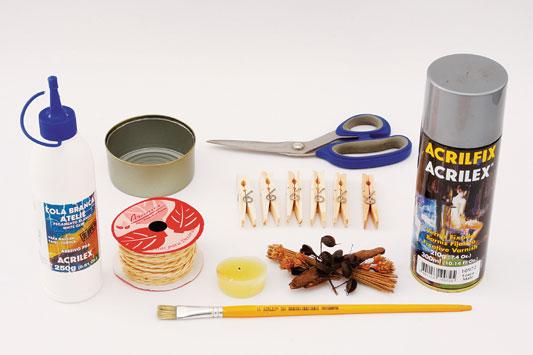 diy fall candle holder sprig seeds leaves tuna tin can glue