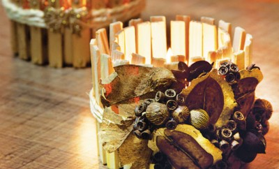diy-fall-candle-holders-wood-clothespins-dried-leaves