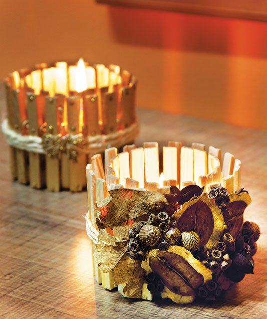 diy fall candle holders wood clothespins seeds dried leaves decor