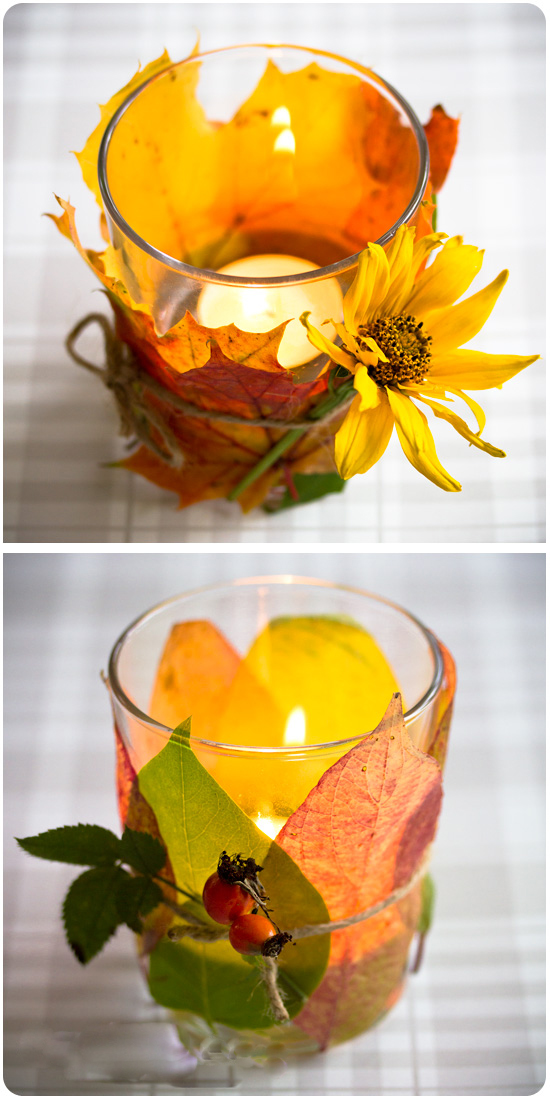 diy-fall-candle-votives-wrapped-leaves-flower-rosehips