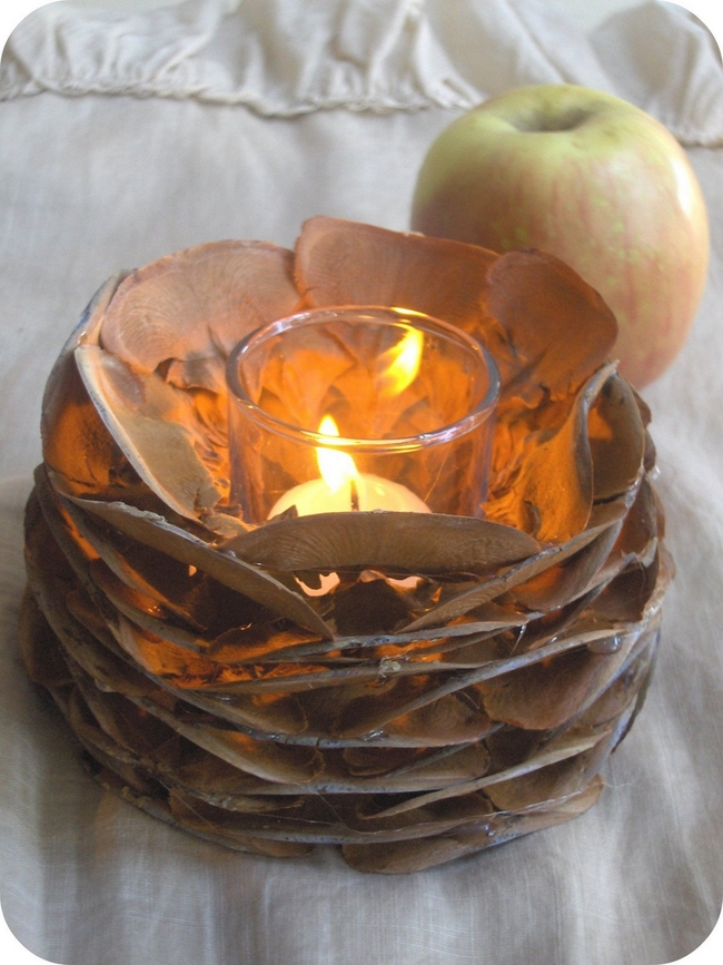 diy fall decor candle votiv pinecone parts - Diy Fall Decor