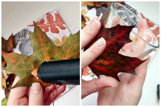 Glueing Maple Leaves On Glass Candle Holder Using Glue Gun