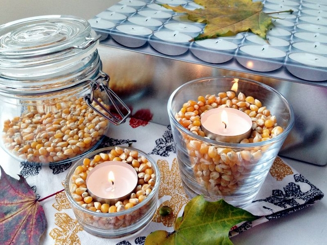diy fall decorating ideas candle-holders-corn-tea-candles