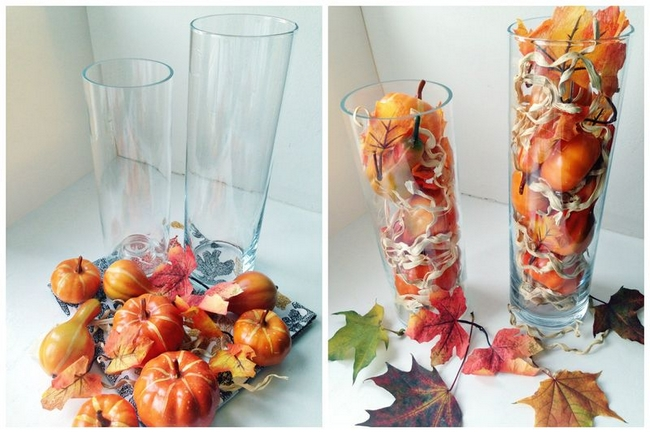 diy-fall-decorating-ideas-tall-glass-vases-faux-pumpkins-leaves