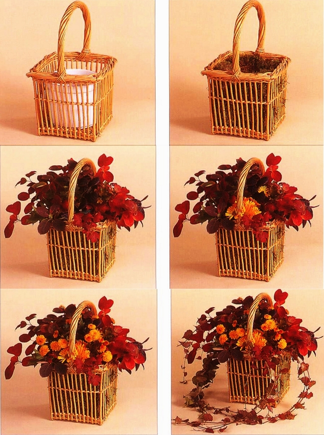 diy-fall-floral-arrangement-basket-red-leaves-mums