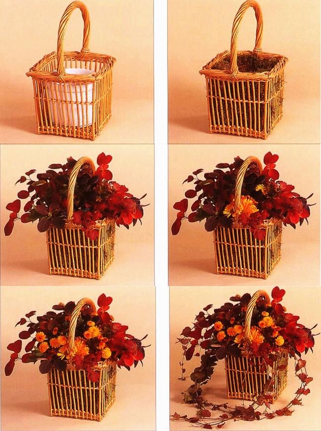 diy-fall-floral-arrangement-basket-red-leaves-mums