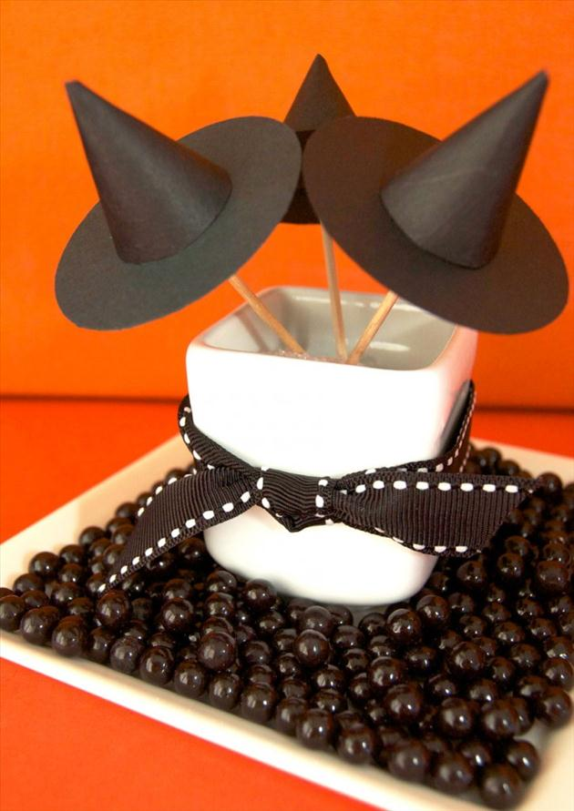 diy halloween home crafts mini witch hats paper sticks