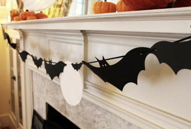 diy halloween home decor garland black paper bats fireplace
