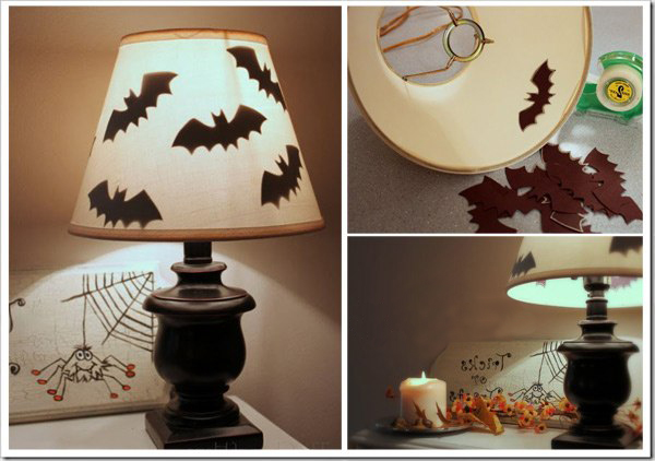 diy halloween home decor ideas bats lampshade spooky silhouettes