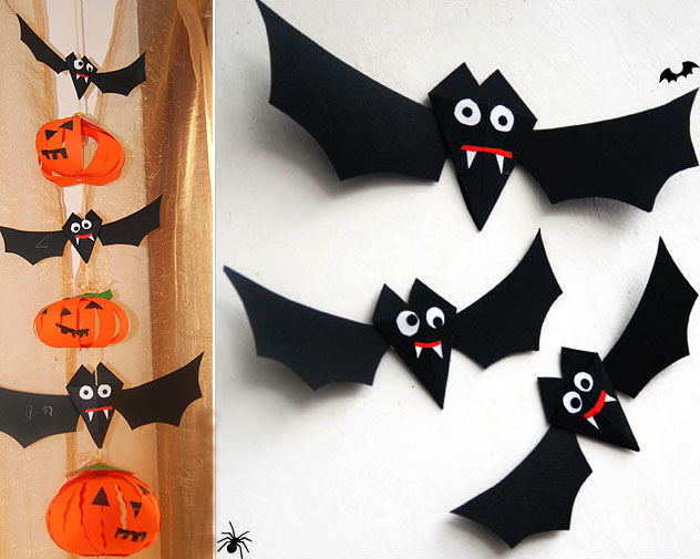 diy halloween home decor paper bats folding tutorial decorating - Bat Halloween Decorations