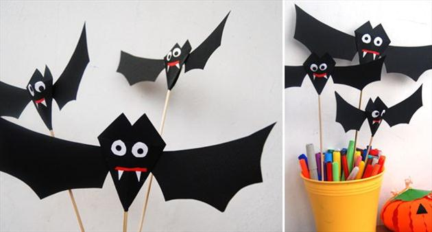 diy halloween home decor ideas paper bats sticks kids room - Bat Halloween Decorations